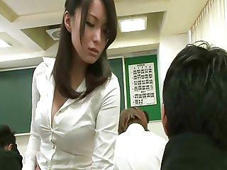 Remote vibrator under teacher skirt