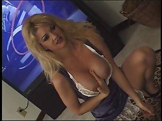 Petite blonde shows off her sexy underwear