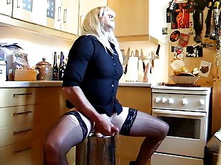 Mature Tranny Shoots Loads