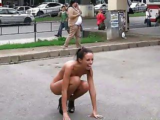 Hot czech brunette nude in public