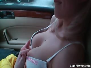 Cute blonde babe with big tits sucking part3