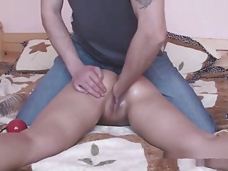 huge objects 1.5l bottle in tiny girl and final cum shot