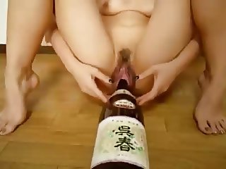 Dirty Bottle Insertion Wet Gaping Pussy
