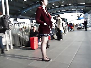 Following hot girl in Red Jacket Short Skirt