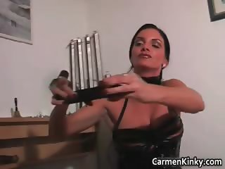 Dudes cock gets tied by kinky brunette part6