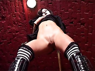 Goth girl nailed by two guys