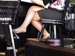 Candid Sexy Crossed Legs 7 slow motion