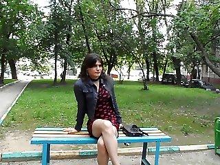 Russian crossdresser on the street