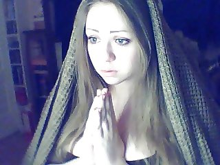 Russian Christian Blue Eyed Dark Blonde Girl believes in God