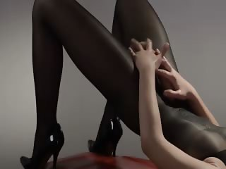 sleek princess in pantyhose masturbating
