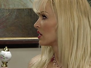 Blonde strap on pussy masturbation excercise