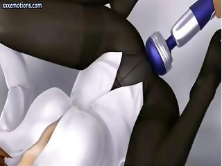 Busty animated girl with cat ears gets vibrated and fucked