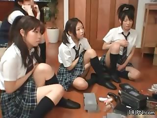 Four cute Japanese girls exploring their part5