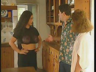 big boob TIZIANA REDFORD threesome in kitchen