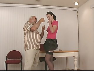 Cute slut with dark hair and nice tits in garter belt gets spanked hard