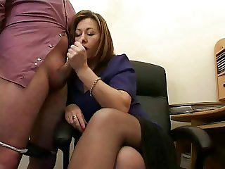 Hot Mature Secretary Jerks The Jizz From Bosses Cock