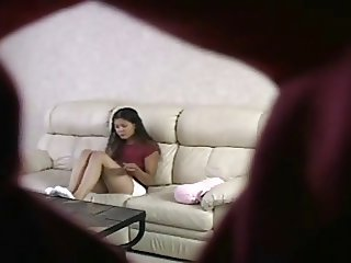 Teen Girl masturbate on sofa