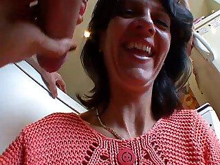 French MILF slut plays with big cock