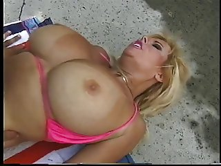 A hot blonde slut with a nice thick body and tits gets banged by the jacuzzi