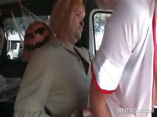 Slut picks up dudes for sex in the bus