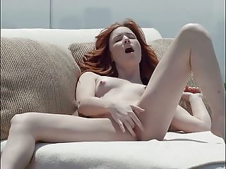 Smoking hot red head strips then fingers her pussy to orgasm