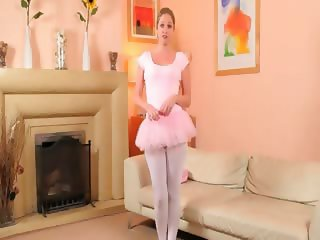 Sexy mom in white pantyhose finger