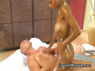 Ebony masseuse does sex massage