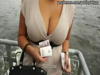 Huge tits euro babe outdoor flashing and fucking for cash