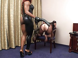 Black Mistress fucks dude with strapon Part 2