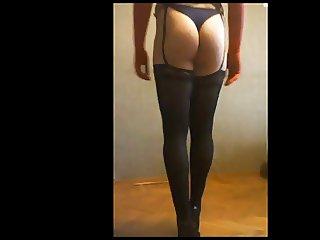 crossdresser enjoy sexy garter