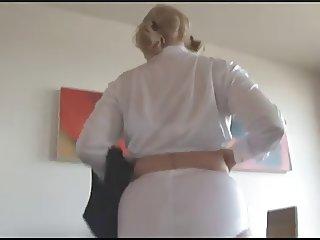 british attractive female strips out of schoolie uniform