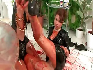 Lesbo clothed sluts love getting wet and messy together