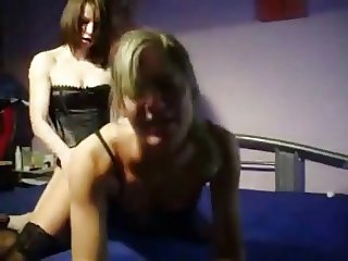 lesbian strap on doggy style