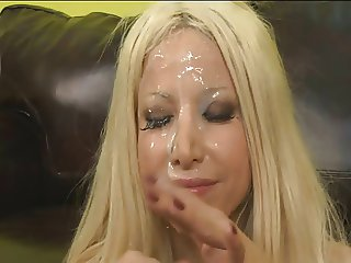 Hot blonde gets her face fucked