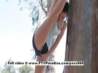 Delightful Super cute brunette girl posing outdoor