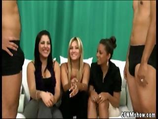 Three girls watch them jerking off