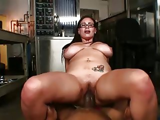 Busty girl fucked right by The Mac