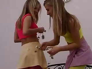 teenage lesbian twins strip off and fuck each other