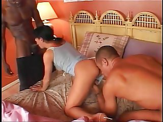 Two dicks for babe in the threesome