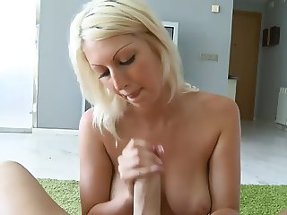 Blonde big tits handjob