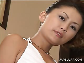 Asian blowjob on knees in hot 3some