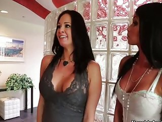 Two hot tattooed brunettes threesomed