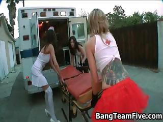 Three brunette pornstar nurses from part4