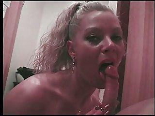 Deborah Valentine blowing a lucky guy