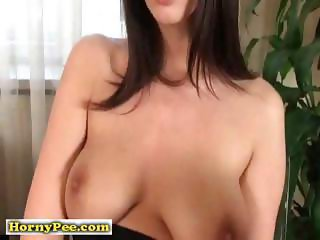 Busty brunette euro babe pissing
