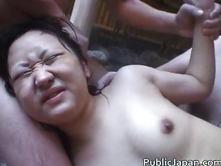 Asian babe is hot and bathing in the hot