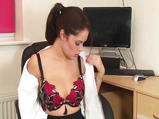 Hot ass office girl Ava striptease masturbates