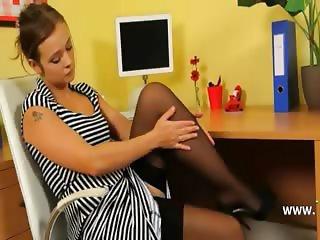Ultra sexy secretary strip in office