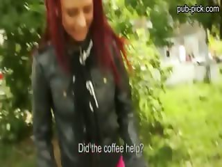 Slutty redhead chick gets anal ripped somewhere in public for money