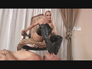 Latex boots all over his body